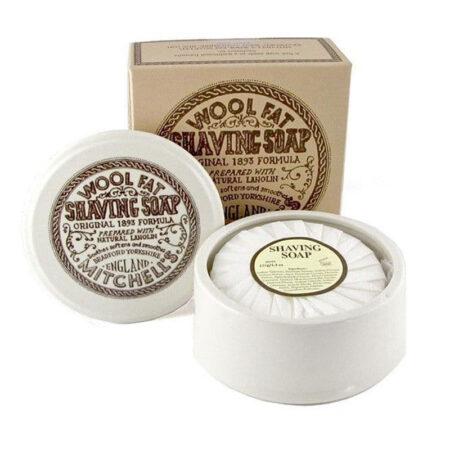 Mitchells Wool Fat Shaving Soap in Ceramic Dish